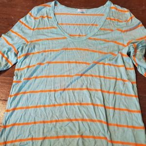 J Crew blue and orange striped Medium tshirt